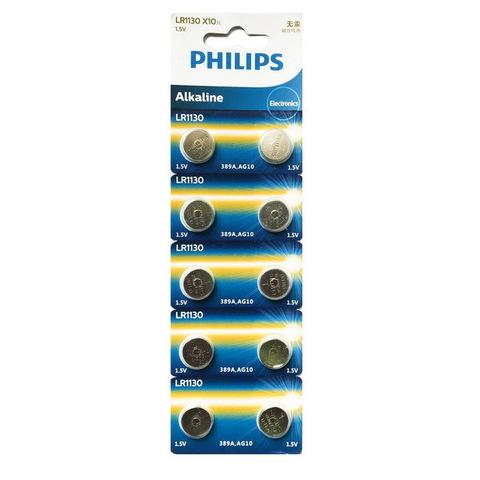 Батарейки часовые Philips LR1130 (AG 10, 389) 10 BL