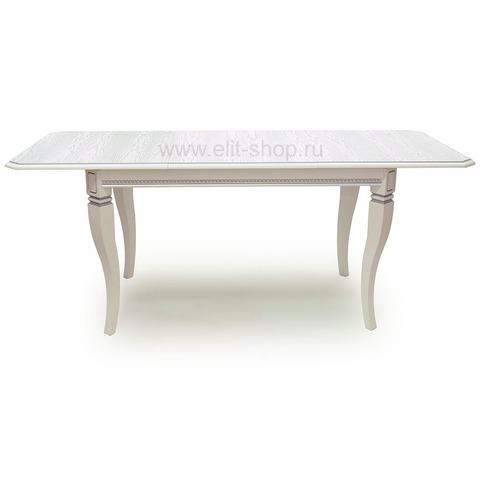 Стол КАДИС 130/80-Ш Белый с серебряной патиной / 130(188)х80см