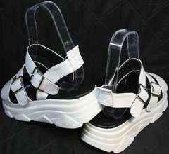 Красивые женские сандалии на платформе Evromoda 3078-107 Sport White
