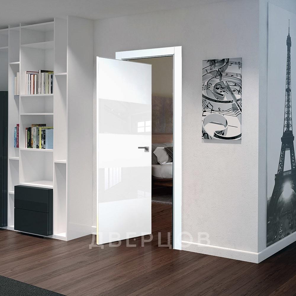 С однотонным покрытием Рото дверь 10E аляска с белым стеклом алюминиевая матовая кромка с 4-х сторон 10E-alyaska-belyy-lak-mat-khrom-dvertsov-min.jpg