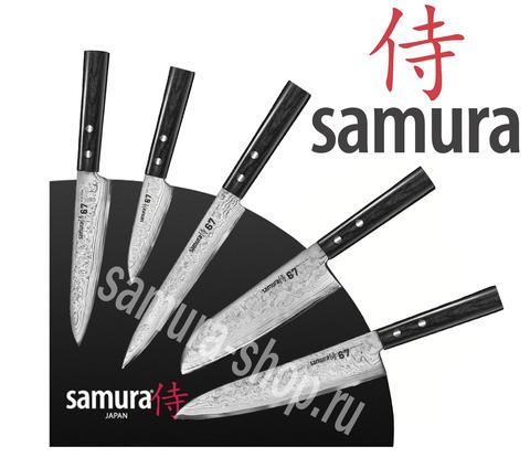 Набор из 5 кухонных стальных ножей Samura 67 Damascus и магнитной подставки