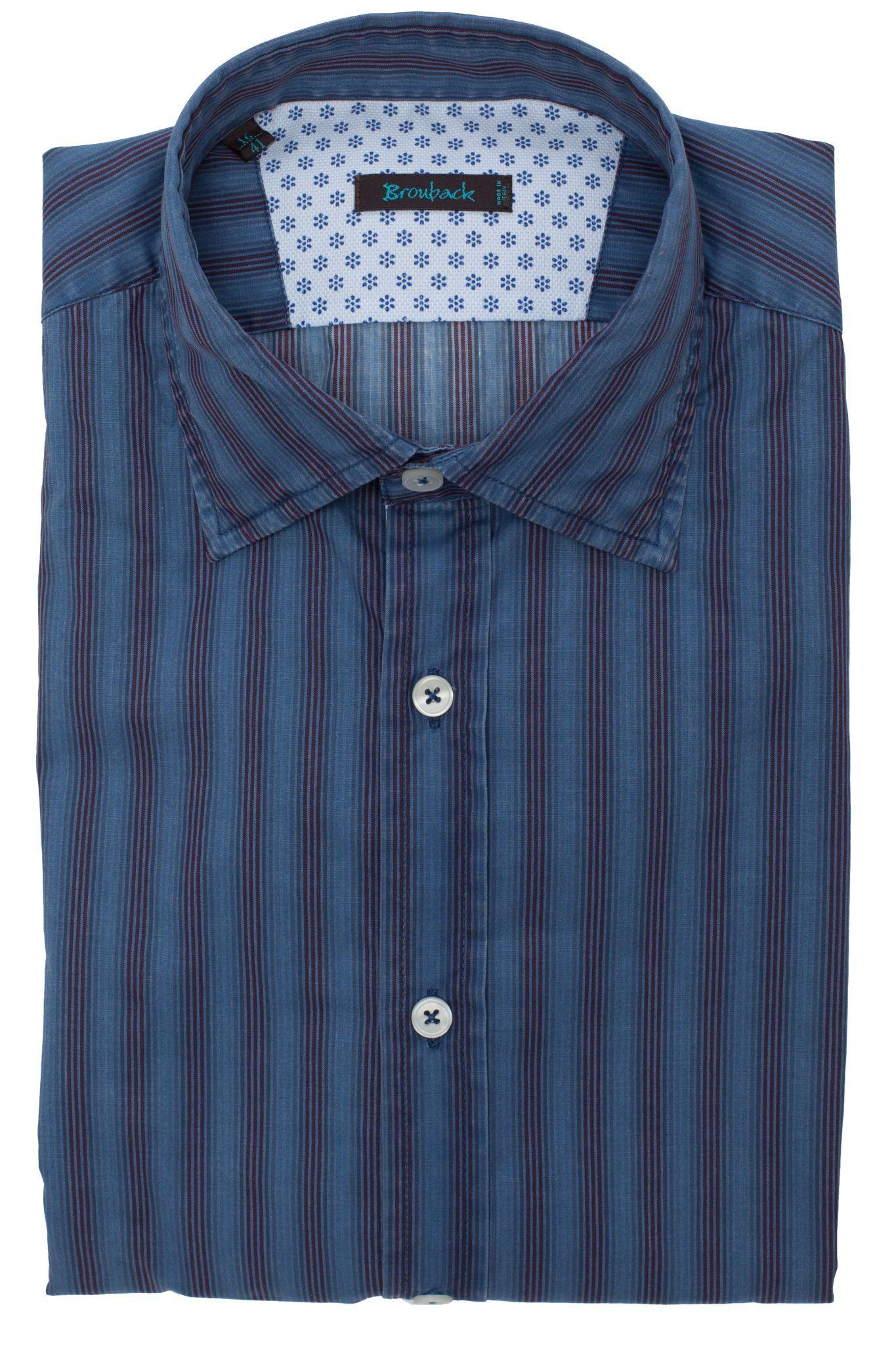 Синяя рубашка в бордовую полоску