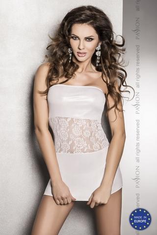 Белое платье без бретелек с кружевом на талии SATI white L/XL 10657PAS