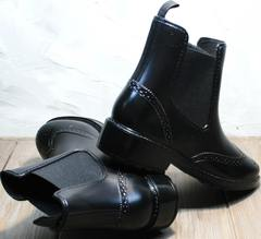 Резиновые сапоги красивые женские низкие W9072Black.