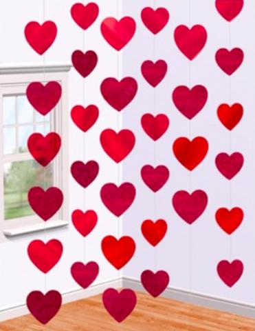 Гирлянда-подвеска Сердца Большие 7 см, Красный