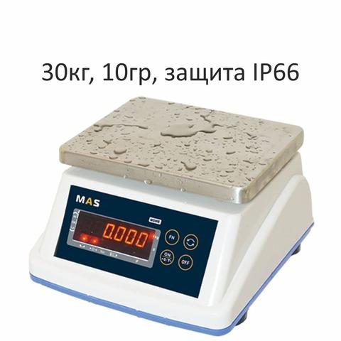 Весы фасовочные/порционные настольные MAS MASter MSWE-30, IP66, 30кг, 10гр, 210х175, влагостойкие, с поверкой