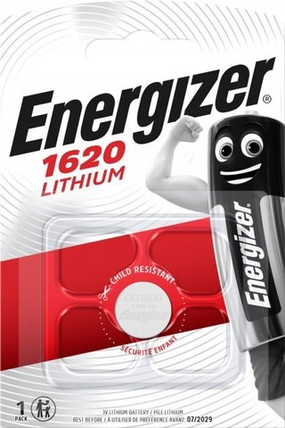 Батарейки литиевые Energizer CR 1620, 3V, 1 BL