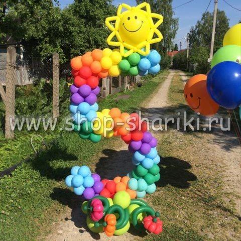 цифра 5 из шаров Радуга с солнцем shop-shariki.ru
