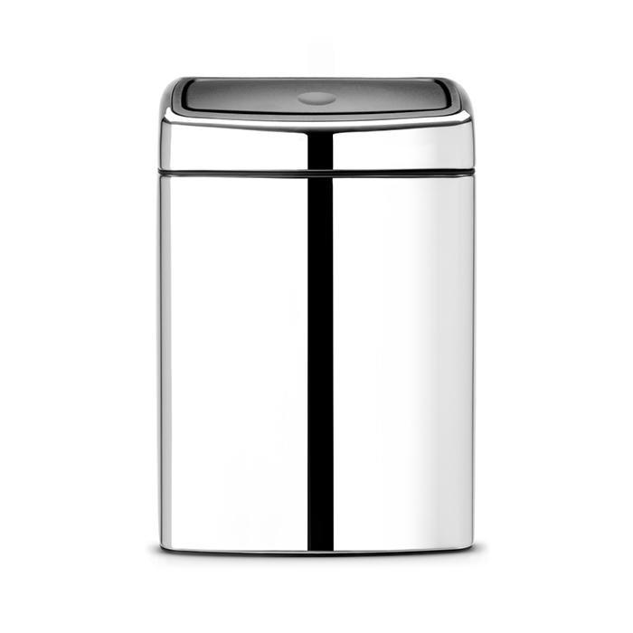 Мусорный бак Brabantia Touch Bin прямоугольный (10л), Полированная сталь, арт. 477201 - фото 1