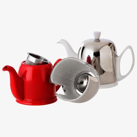 Фарфоровый заварочный чайник на 6 чашек с черной крышкой, черный, артикул 216414,