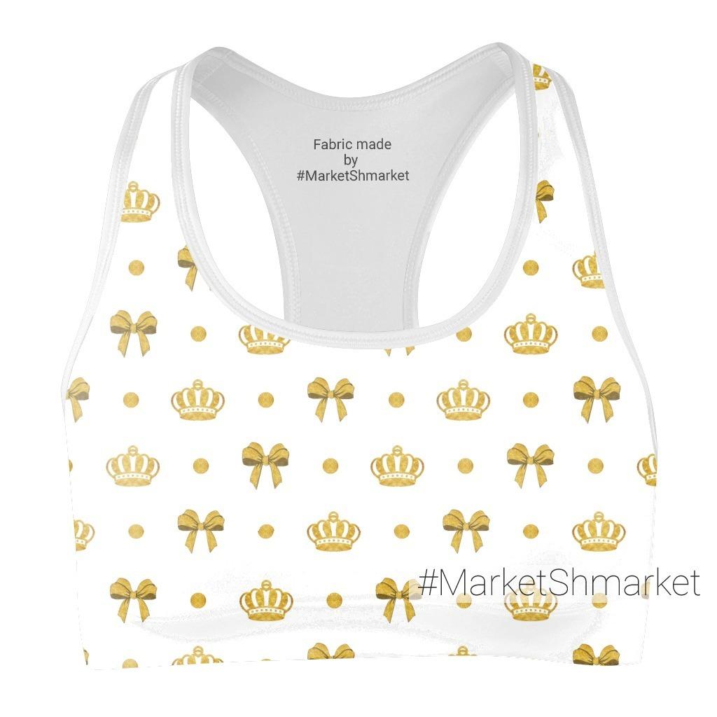 золотой принт, короны и бантики