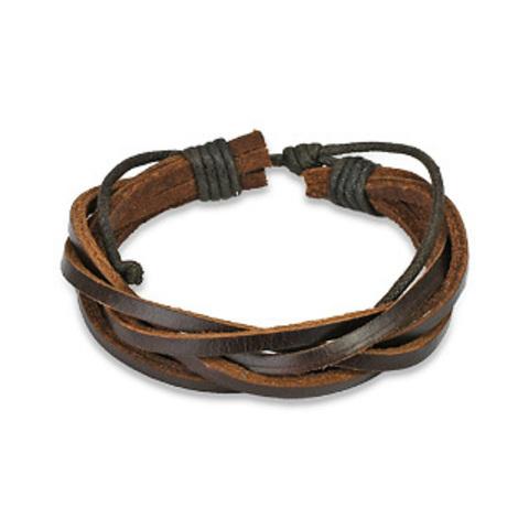 Лёгкий летний плетёный коричневый браслет косичка из натуральной кожи SPIKES SL0034-BRN