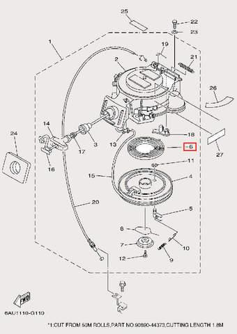 Пружина стартера большая для лодочного мотора F9,9 Sea-PRO (10-6)