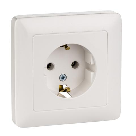 Розетка электрическая с заземлением 16 А 250 В. Цвет Белый. Schneider Electric(Шнайдер электрик). Hit(Хит). RS16-134-B