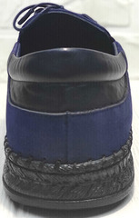 Модные мокасины туфли мужские кожаные casual premium Luciano Bellini 91268-S-321 Black Blue.