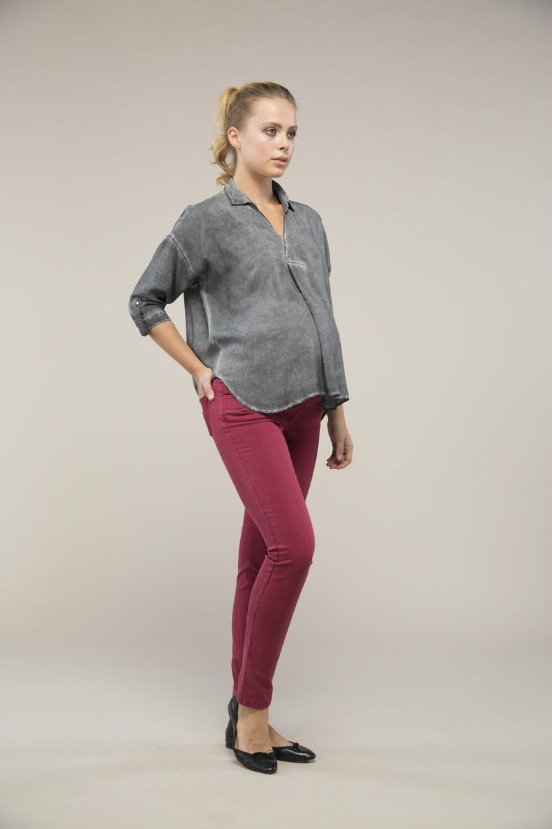 Туника для беременных 09097 серый