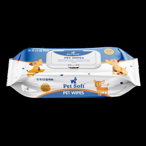 Pet Soft влажные салфетки для животных 100шт в упаковке
