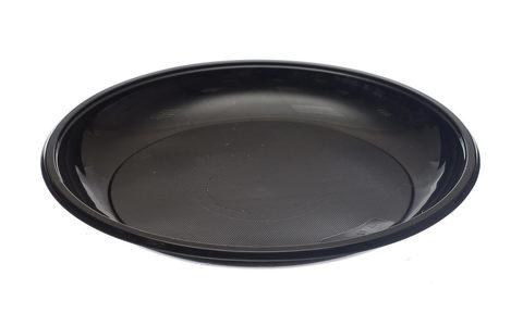 Одноразовая пластиковая тарелка десертная черная (8г) РР D=165 мм