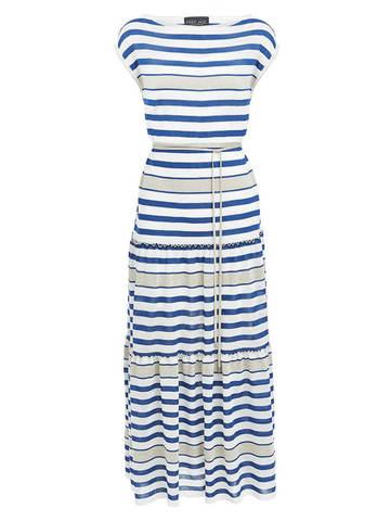 Женское платье в полоску из вискозы - фото 1