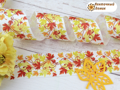 Лента репсовая Кленовые листья с завитками 38 мм