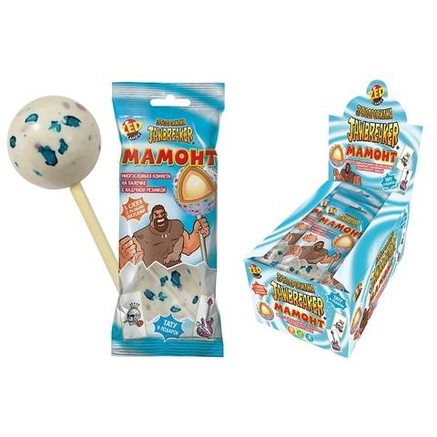 ЗУБОДРОБИЛКА Мамонт многослойная конфета на палочке с надувной резинкой и тату, 1кор*12бл*10 шт, 60г