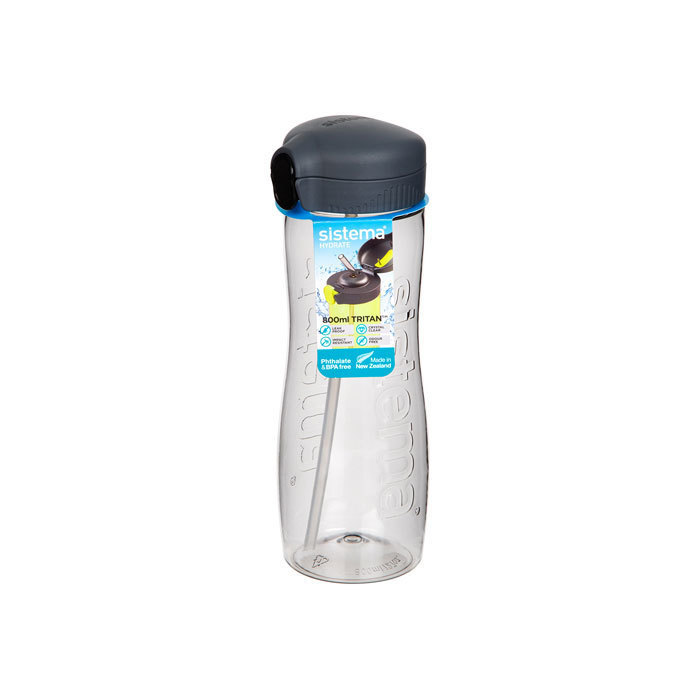 "Бутылка для воды с трубочкой Sistema ""Hydrate"", Тритан, 800 мл, цвет Черный"