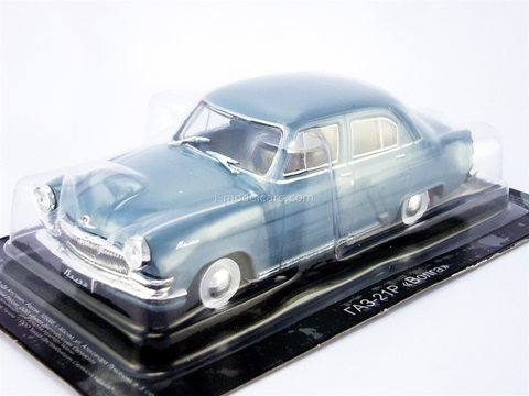 GAZ-21 Volga third series 1962 gray-blue 1:43 DeAgostini Auto Legends USSR #208