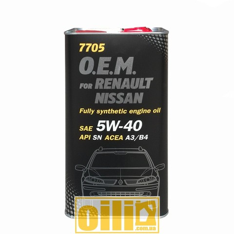 Mannol 7705 O.E.M. for RENAULT NISSAN 5W-40 4л