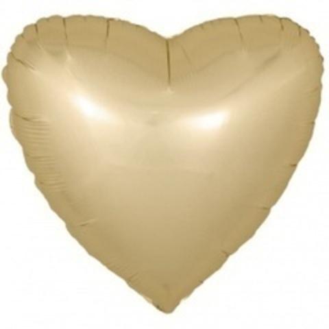 F 18''/46 см Сердце, Золото, Сатин, 1 шт.