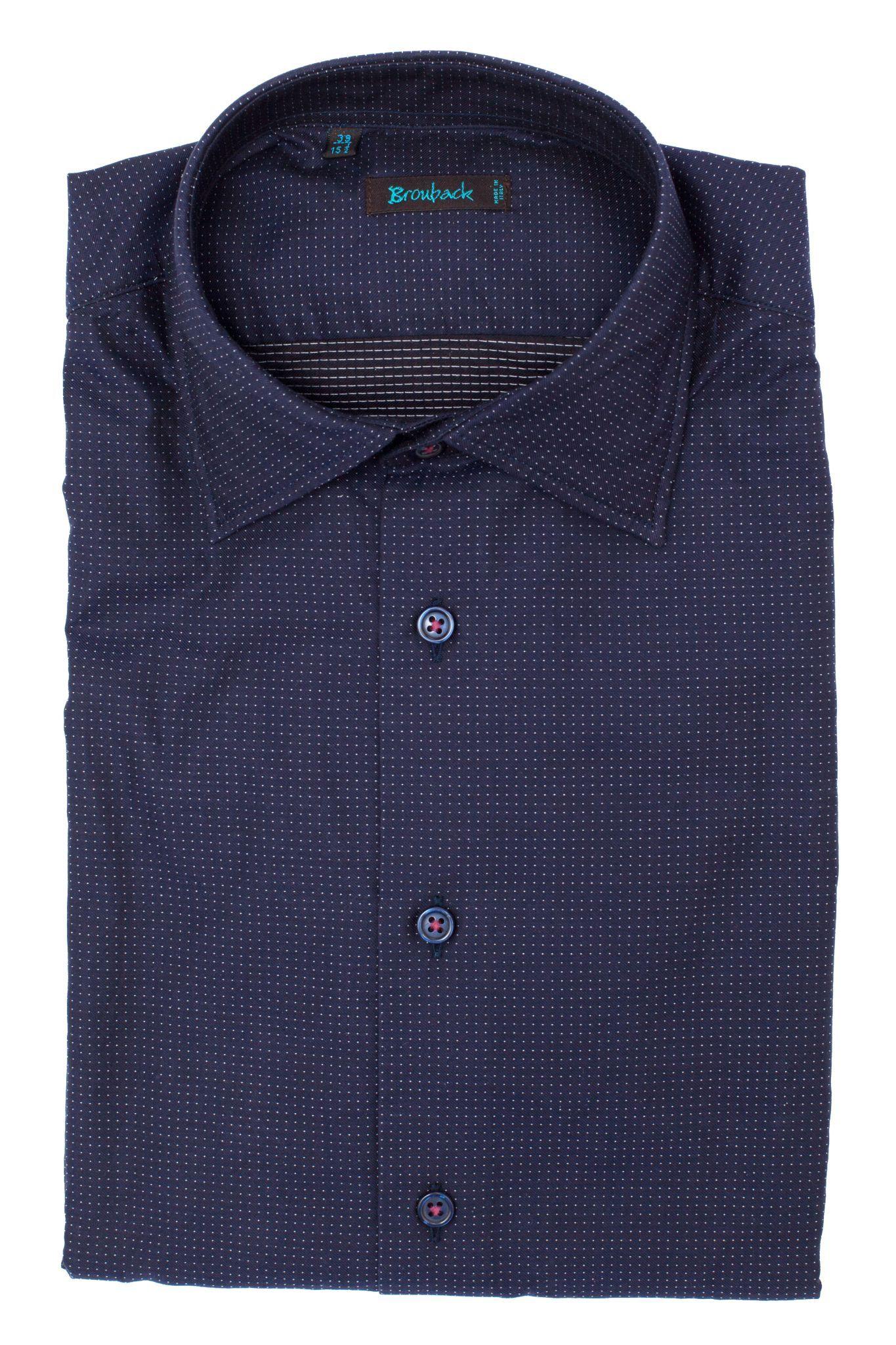Тёмно-синяя рубашка в мельчайшую белую крапинку