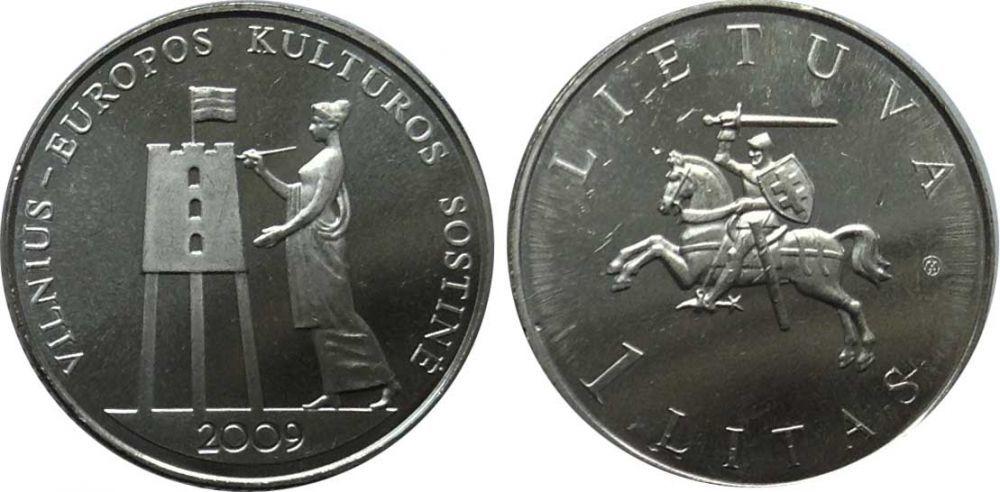 """1 лит """"Вильнюс - культурная столица Европы"""" 2009 год"""