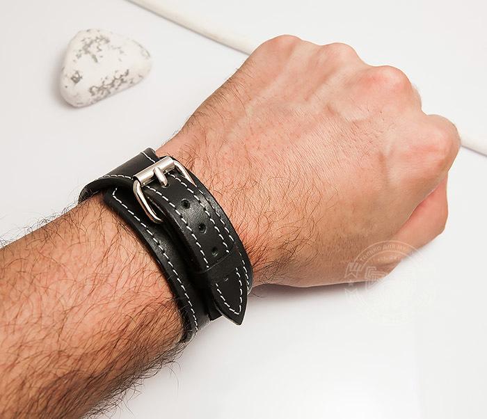 BL405-2 Черный браслет ручной работы с белой нитью. «Boroda Design» фото 04