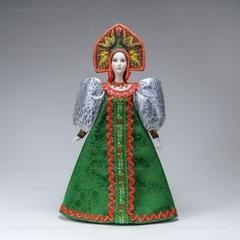 Сувенирная кукла в крестьянском наряде в двурогом кокошнике