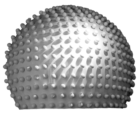 Semisphere, white, glossy, with small spheres, Ø = 0,06m