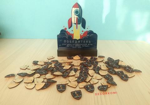 Памятная награда кубок из оргстекла и дерева ДекорКоми