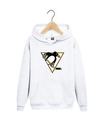 Толстовка белая с капюшоном (худи, кенгуру) и принтом НХЛ Питтсбург Пингвинз (NHL Pittsburgh Penguins) 003