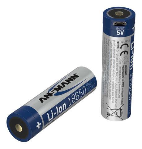 Аккумулятор 18650 LI-ION ANSMANN 3.6V, 3400mAh с разъемом USB