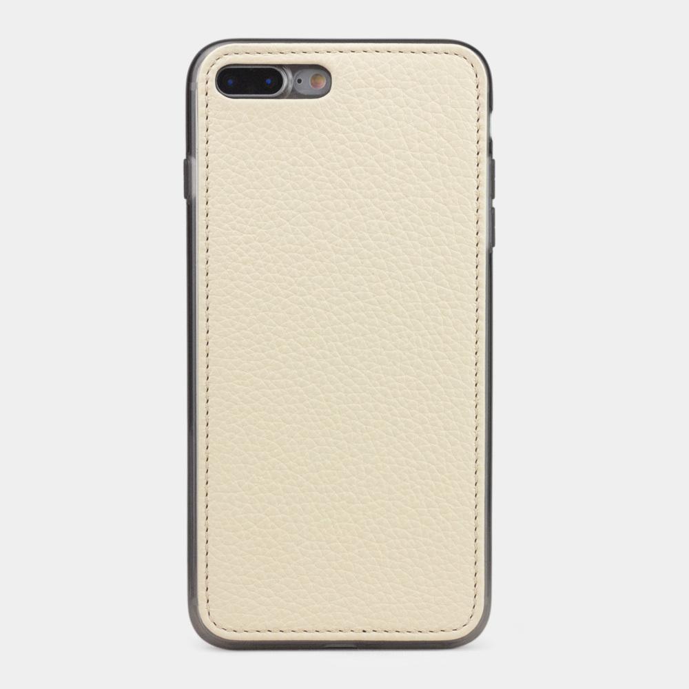 Чехол-накладка для iPhone 8 Plus из натуральной кожи теленка, молочного цвета