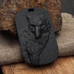 Жетон Волк из черного нефрита