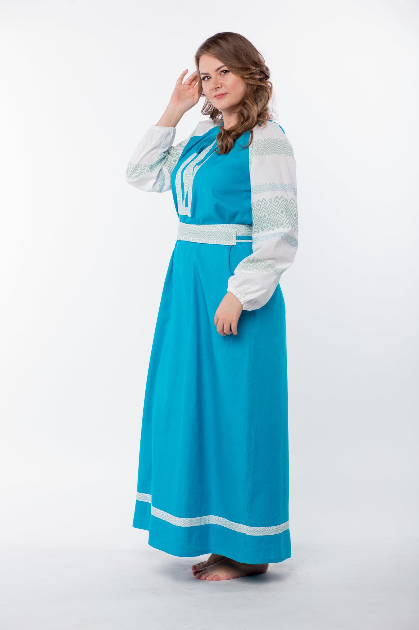Платье славянское Заморское бирюзовое вид сбоку