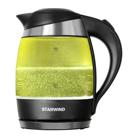 Чайник электрический Starwind (1,8 литра) 2200 Вт, LED подсветка, желтый