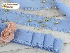 Лента  микровельвет  перфорированный голубой 38 мм