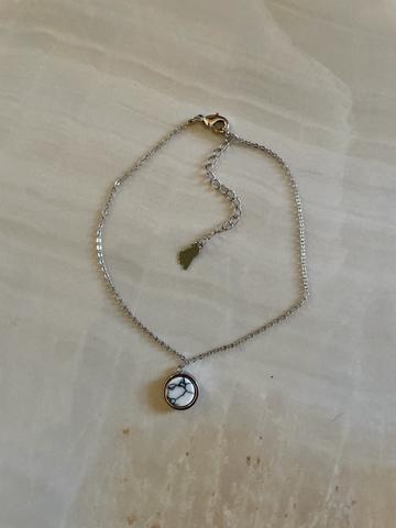 Браслет на ногу Мрамор, серебряный цвет