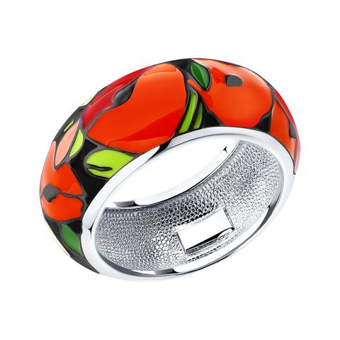 94011935- Кольцо из серебра с эмалью «Маки Ваг гог»