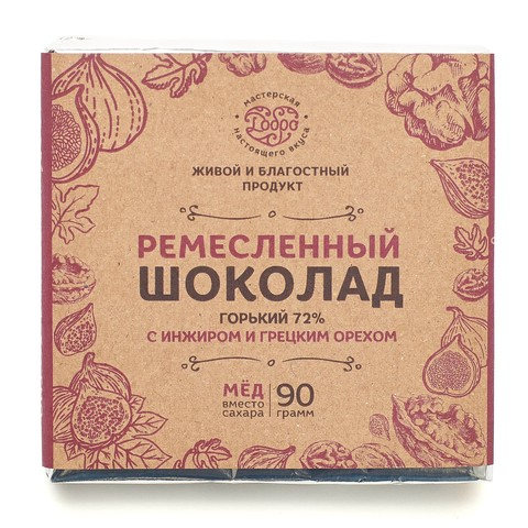 Шоколад ремесленный горький на меду, с инжиром и грецким орехом, 72% какао, 90 г