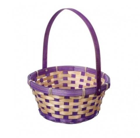 Корзина плетеная (бамбук), размер:D21хH24 см, цвет:фиолетовый