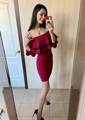 Волна. Оригинальное платье с двумя воланами. Бордо