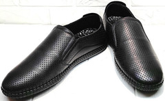 Легкие мокасины туфли с перфорацией мужские кэжуал обувь Ridge Z-291-80 All Black.