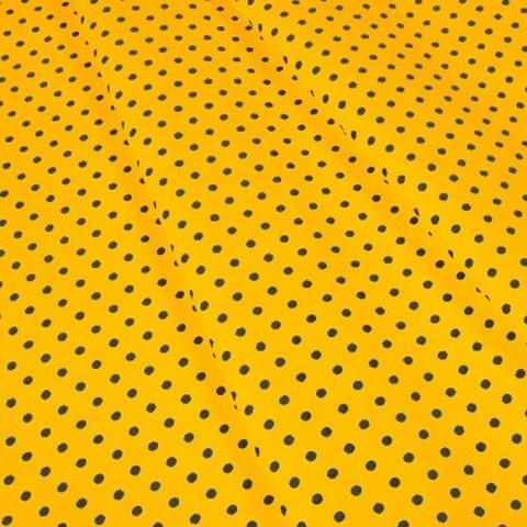 Бязь плательная 150 см 1359/4 цвет желтый фон черный горох мелкий