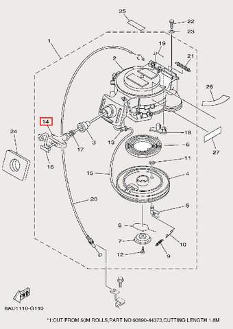 Ручка стартера для лодочного мотора F9,9 Sea-PRO (10-14)